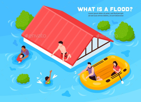 Flood Vector Illustration - Landscapes Nature