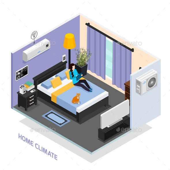 Home Climate Isometric Composition - Computers Technology