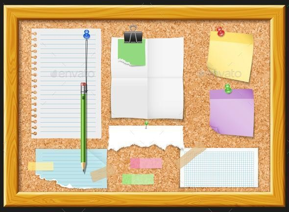 Cork Board and Note Papers Design - Patterns Decorative