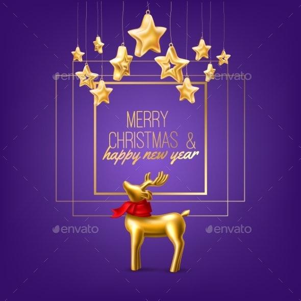 Vector Christmas Golden Reindeer on Purple Frame - Christmas Seasons/Holidays