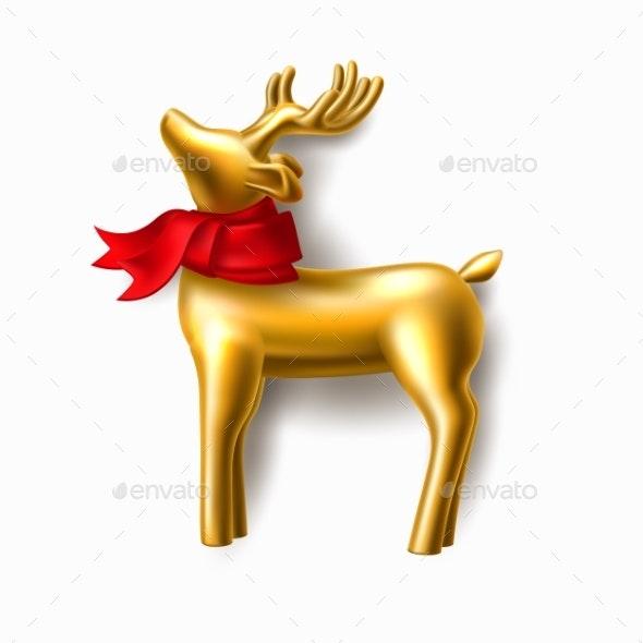 Vector Christmas Golden Reindeer - Christmas Seasons/Holidays