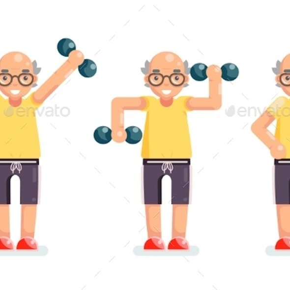 Gymnastics Old Man Grandfather Dumbbells Exercises