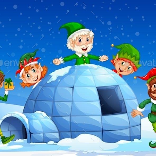 Christmas Elf in Winter Background
