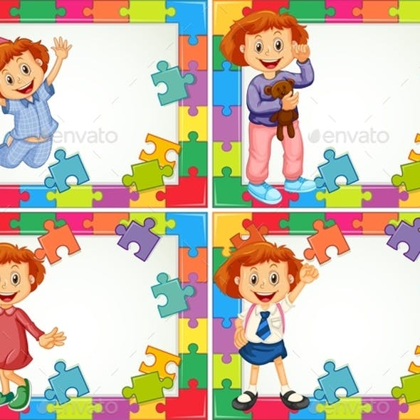 Frame Template with Kids in Different Costumes
