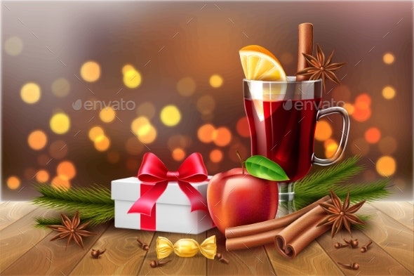 Vector Christmas Poster Mulled Wine Present Box - Food Objects