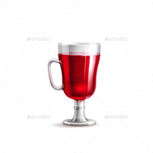 Vector Realistic Mulled Wine Glass Isolated - Food Objects