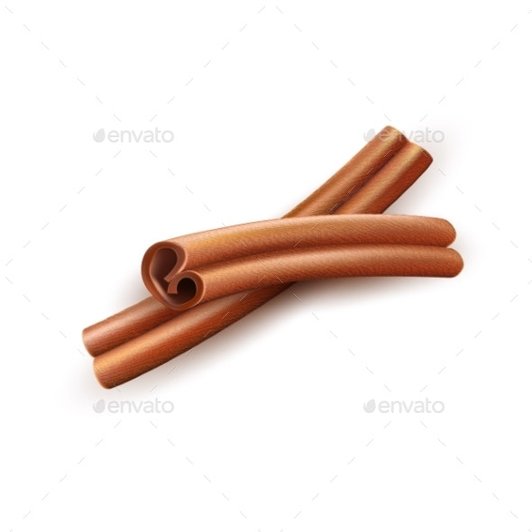 Realistic Dried Cinnamon Sticks Vector Spice - Food Objects