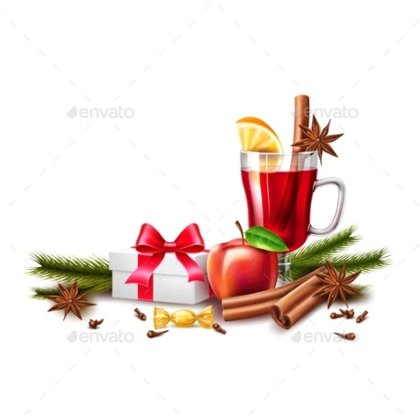 Vector Christmas Poster Mulled Wine Present Box