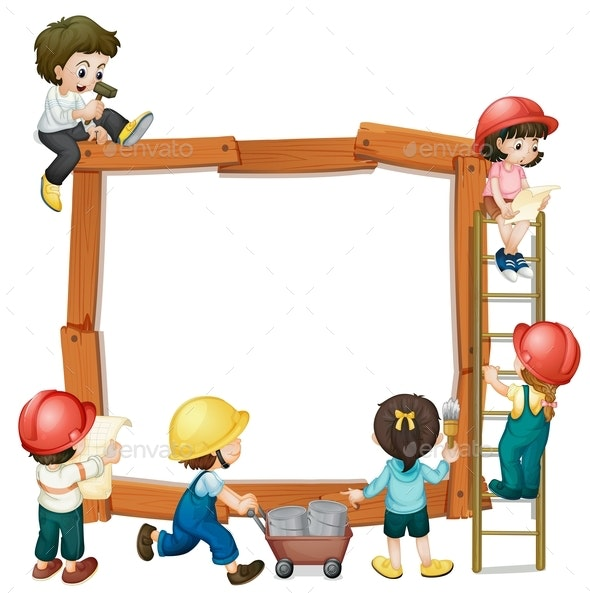 Boy and Girl Worker Frame - Borders Decorative