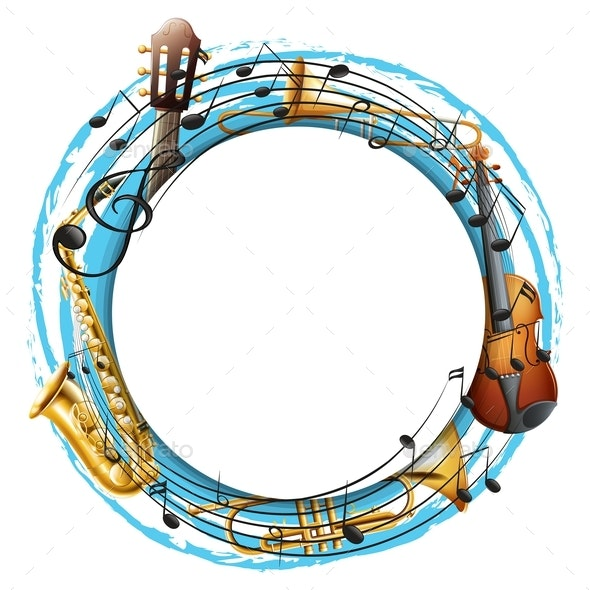 Round Frame With Musical Instruments - Borders Decorative