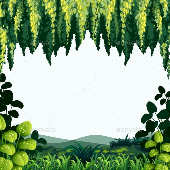 Border Template With Trees and Mountains - Backgrounds Decorative