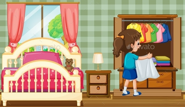 Girl in Bedroom With Wardrobe - People Characters