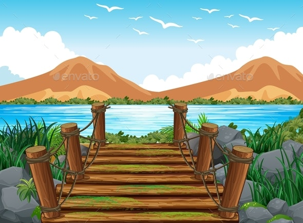 Background Scene With Wooden Bridge to The Lake - Landscapes Nature