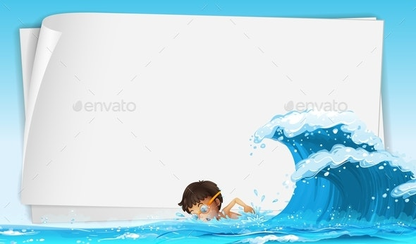 Border Template With Boy Swimming in Ocean - People Characters