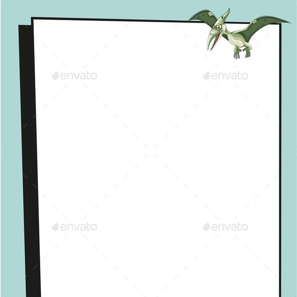 Banner Template With Triceratops