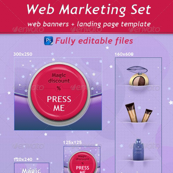 Red Magic Button - Web Marketing Set