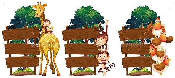Wooden Sign Template With Giraffe and Monkey - Animals Characters