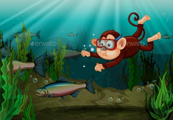 Monkey Catching Fish in The River - Animals Characters
