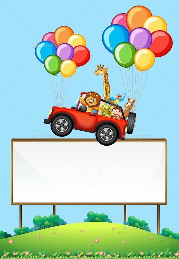 Blank Sign With Animals in a Floating Car - Borders Decorative