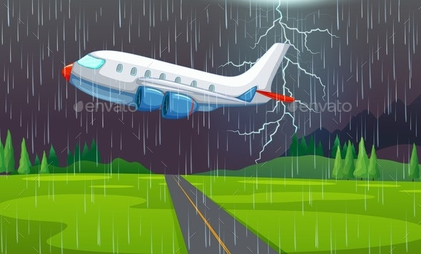 Airplane Flying in Thunderstorm - Travel Conceptual