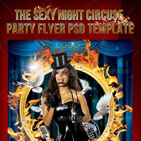 The Sexy Night Circuse Party Flyer PSD Template