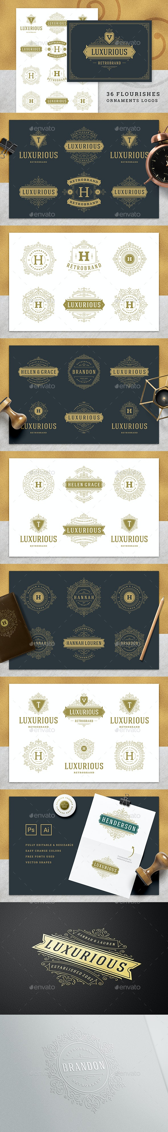 36 Luxury Ornament Logos - Badges & Stickers Web Elements