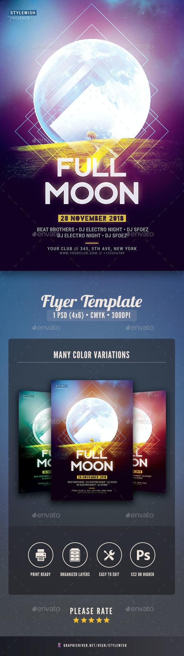 Full Moon Flyer - Clubs & Parties Events