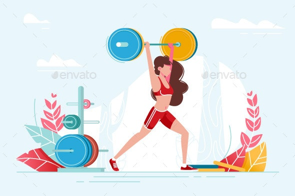 Girl Lifting Weights - Sports/Activity Conceptual