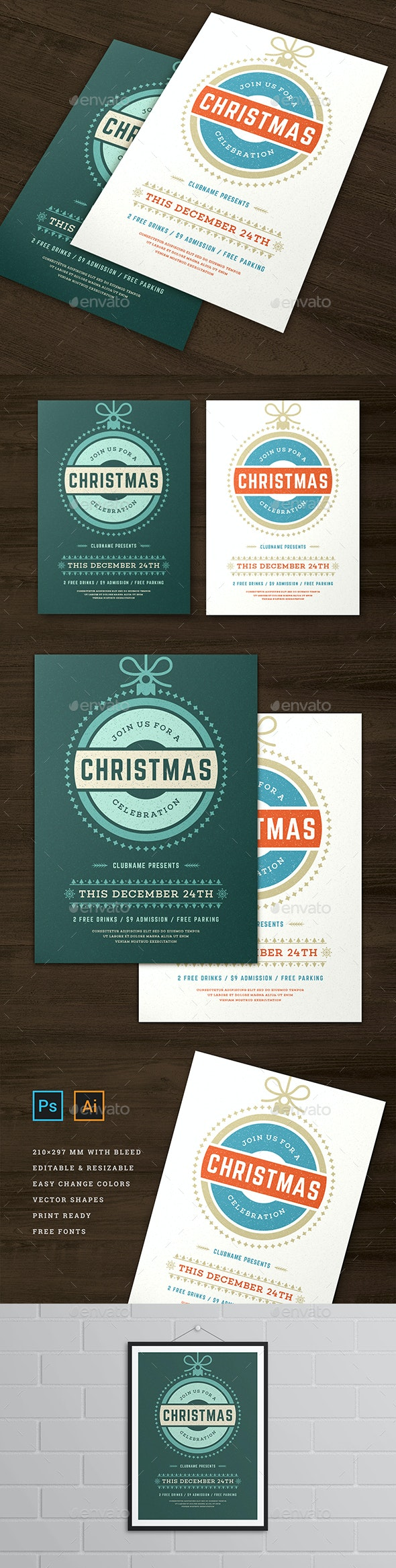 Christmas Party Flyer Invitation Template - Flyers Print Templates