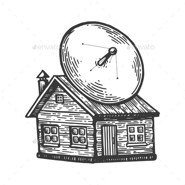 Satellite Dish on Old House Engraving Vector