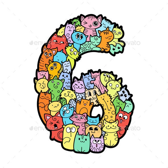 Hand drawn doodled kids numbers. - Animals Characters