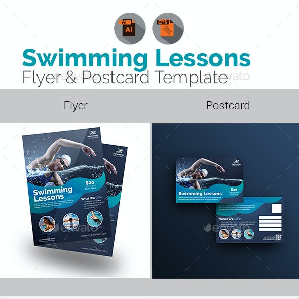 Swimming Lessons Flyer with Post Card Bundle