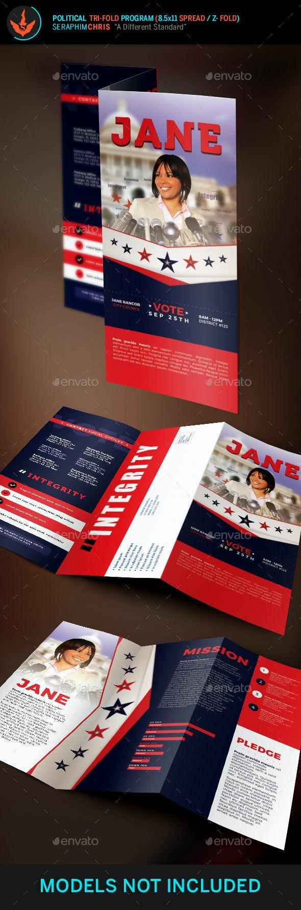 Jane 2 Political Tri-Fold Brochure Template 2 - Corporate Brochures