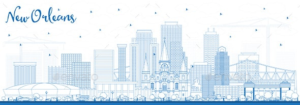 Outline New Orleans Louisiana City Skyline with Blue Buildings - Buildings Objects