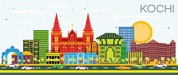Kochi India City Skyline with Color Buildings - Buildings Objects