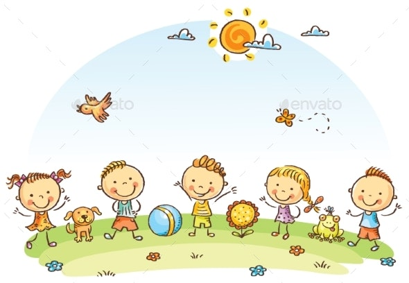 Happy Cartoon Kids Outdoors on a Green Meadow - People Characters
