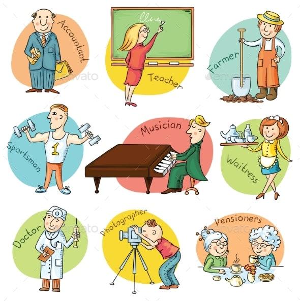 Cartoon Profession Set - People Characters