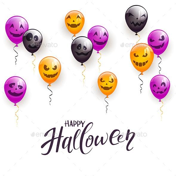 Text Happy Halloween and Balloons - Halloween Seasons/Holidays