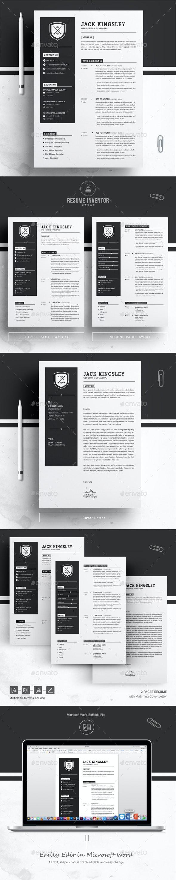 Minimalist Resume / CV Template - Resumes Stationery