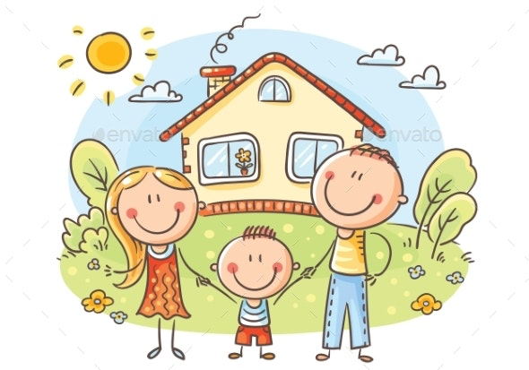 Happy Family with One Child Near Their House - People Characters