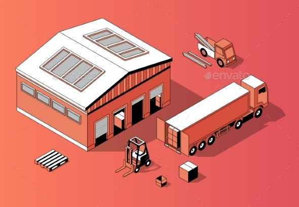 Vector Isometric Warehouse with Truck and Forklift - Man-made Objects Objects