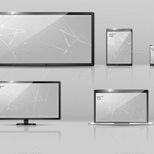 Vector Different Broken Screens