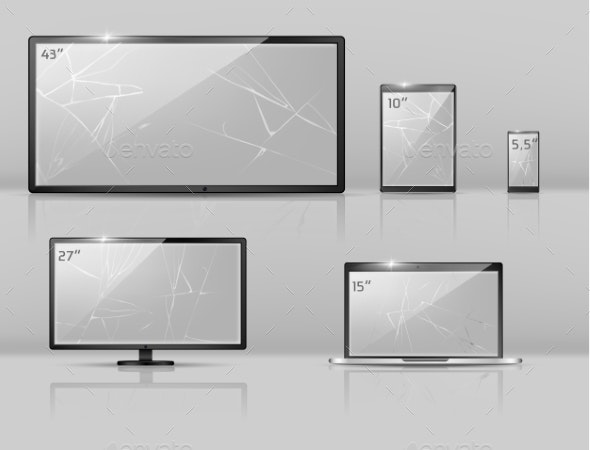 Vector Different Broken Screens - Computers Technology