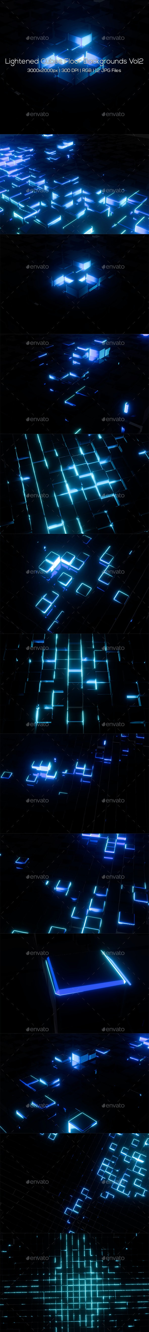 Lightened Cubes Floor Backgrounds Vol2 - Abstract Backgrounds