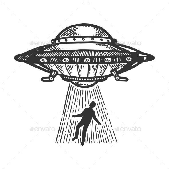 UFO Kidnaps Human Engraving Vector - Miscellaneous Vectors