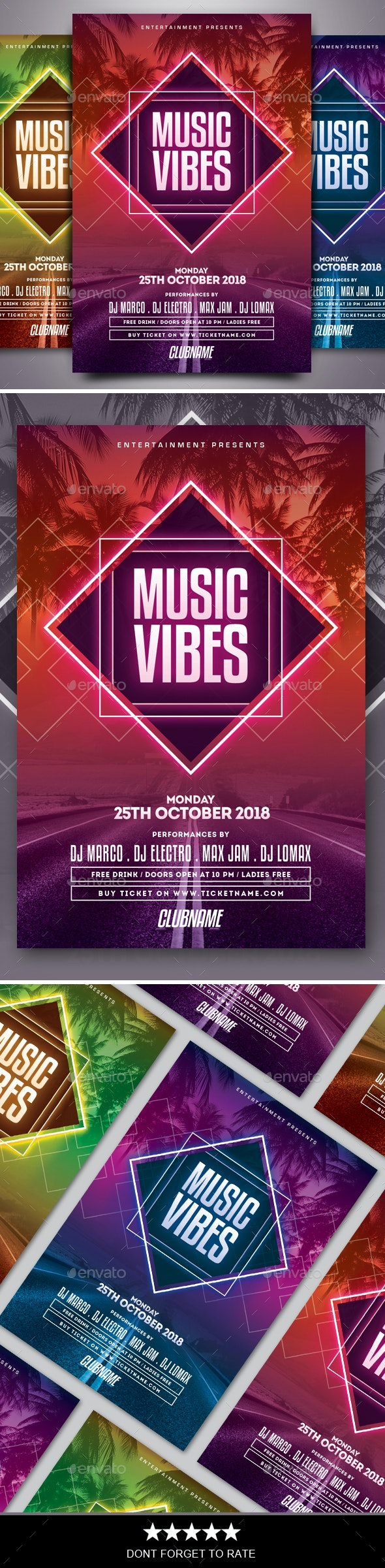 Music Vibes Flyer - Clubs & Parties Events