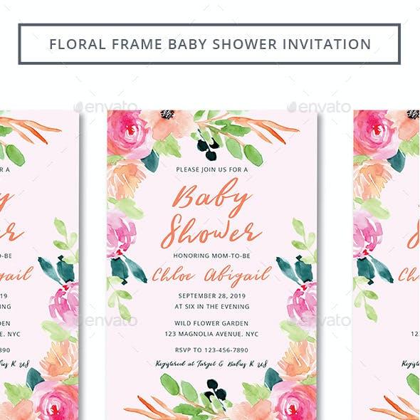 Floral Frame Baby Shower Invitation
