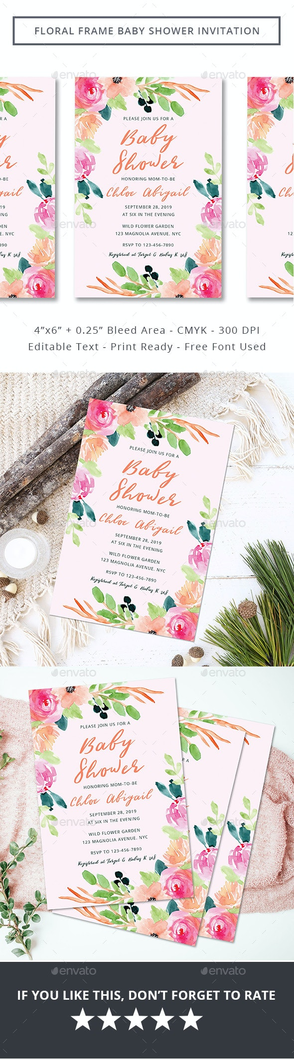 Floral Frame Baby Shower Invitation - Invitations Cards & Invites