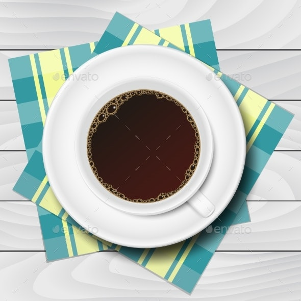 Cup of Coffee with Checkered Napkins on White - Food Objects