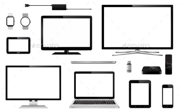 Set of Realistic TV, Computer Monitor and Laptops - Computers Technology
